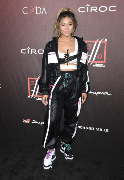 Chloe Kim Leather Sneakers [footwear,carpet,shoe,style,arrivals,sports illustrated fashionable 50,chloe kim,the sunset room,los angeles,california,sports illustrated]