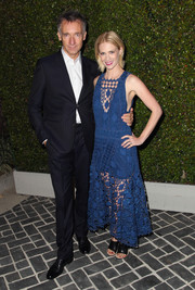 January Jones looked airy and chic in a blue crochet-like dress during the Chloe LA fashion show and dinner.
