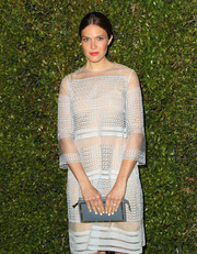 Mandy Moore looked ethereal in a pale blue cocktail dress with eyelet detailing during the Chloe LA fashion show and dinner.