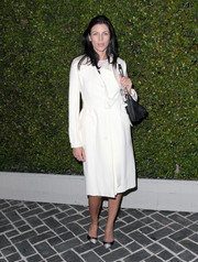Liberty Ross chose a simple yet classy white coat for the Chloe LA fashion show and dinner.