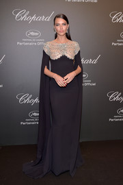Adriana Lima looked like royalty in a black Reem Acra gown with a beaded yoke at the Chopard Space Party.