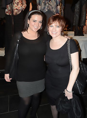 Ruched detailing added a dose of sexiness to Caroline Manzo's LBD at the Chris Benz fashion show.