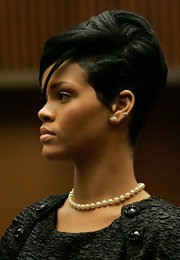 Rihanna's jewelry at her court appearance during Chris Brown's trial was remarkably demure.