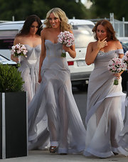 Kate looked spectacular at her sister's wedding in a strapless sea mist bridesmaid dress.