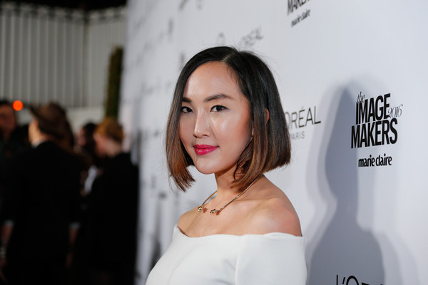Chriselle Lim Graduated Bob [hair,face,skin,beauty,hairstyle,fashion,dress,shoulder,lip,event,chriselle lim,marie claire,marie claire hosts inaugural image maker awards,california,los angeles,chateau marmont,red carpet]