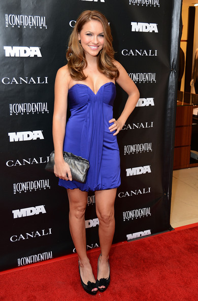 Chrishell Stause Metallic Clutch [clothing,dress,cocktail dress,carpet,cobalt blue,strapless dress,premiere,red carpet,shoulder,hairstyle,chrishell stause,la confidential,evening in honor of the muscular dystrophy association with canali,evening in honor of the muscular dystrophy association canali,beverly hills city,canali boutique]