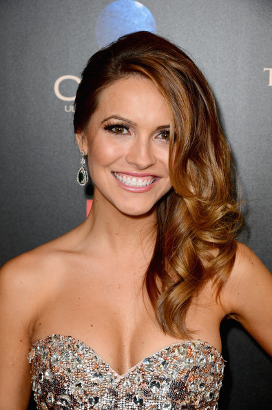 Chrishell Stause Dangling Gemstone Earrings [hair,hairstyle,eyebrow,shoulder,blond,long hair,beauty,brown hair,chin,dress,arrivals,chrishell stause,beverly hills,california,the beverly hilton hotel,daytime emmy awards]