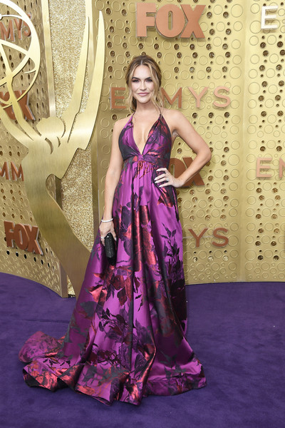Chrishell Stause Empire Gown [dress,gown,clothing,fashion model,purple,formal wear,haute couture,fashion,lilac,shoulder,arrivals,chrishell stause,emmy awards,microsoft theater,los angeles,california]