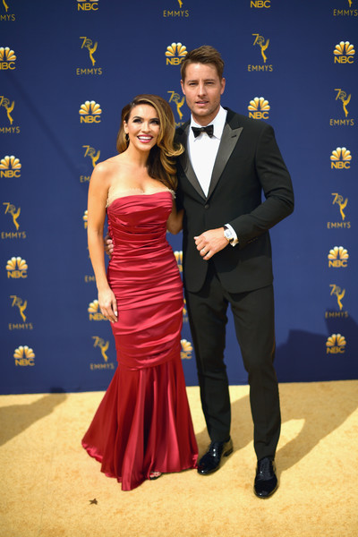 Chrishell Stause Mermaid Gown [formal wear,dress,clothing,suit,fashion,shoulder,gown,event,carpet,flooring,arrivals,chrishell stause,justin hartley,emmy awards,microsoft theater,los angeles,california,70th emmy awards]