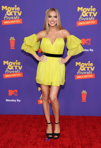 Chrishell Stause Off-the-Shoulder Dress [movie,image,unscripted,hair,smile,joint,hairstyle,one-piece garment,dress,day dress,thigh,flooring,waist,unscripted - arrivals,tv awards,hair,hairstyle,smile,joint,mtv,red carpet,carpet,yellow,shoe,celebrity,red,personality]
