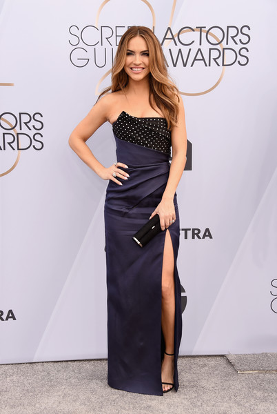 Chrishell Stause Strapless Dress [clothing,dress,shoulder,fashion model,carpet,fashion,red carpet,strapless dress,hairstyle,cocktail dress,arrivals,chrishell stause,screen actors guild awards,screen actors\u00e2 guild awards,the shrine auditorium,los angeles,california]