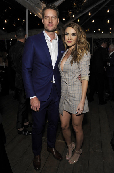 Chrishell Stause Tuxedo Dress [men of the year party in partnership with fiji water,clothing,fashion,suit,event,formal wear,outerwear,dress,leg,haute couture,fashion design,fiji water,men of the year party,chrishell hartley,justin hartley,l-r,partnership,california,los angeles,gq]