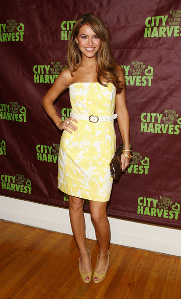 Chrishell Stause Peep Toe Pumps [clothing,dress,cocktail dress,shoulder,strapless dress,yellow,premiere,footwear,joint,carpet,chrishell stause,metropolitan pavilion,new york city,city harvest,city restaurant tasting cocktail party,cocktail party,city restaurant tasting]