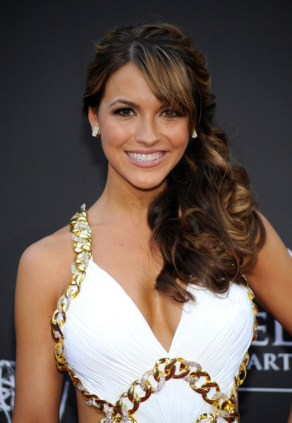 Chrishell Stause Side Swept Curls [photo,hair,hairstyle,beauty,eyebrow,brown hair,chin,long hair,model,smile,fashion model,arrivals,chrishell stause,frazer harrison,the orpheum theatre,california,los angeles,getty images,daytime entertainment emmy awards,daytime emmy awards]