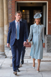 Pippa Middleton opted for a baby-blue shirtdress by Alessandra Rich when she attended Prince Louis' christening.