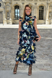 Anna dello Russo was a head turner in an elaborately embroidered and appliqued dress during the Dior fashion show.