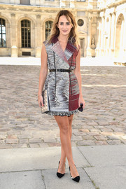 Alexia Niedzielski chose a multicolored tweed coat dress by Christian Dior for the label's fashion show.