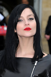 Leigh Lezark wore her long blunt cut sleek and straight with lengthy side-swept bangs at the Christian Dior fall 2012 runway show.