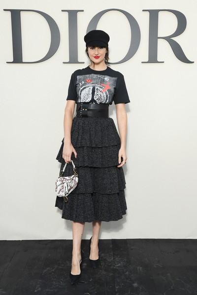 Shailene Woodely kept it relaxed up top in a graphic tee by Dior during the brand's Spring 2019 show.