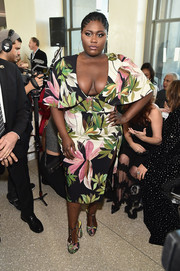Danielle Brooks looked spring-ready in a foliage-print dress by Christian Siriano during the brand's fashion show.