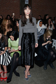Rebecca Dayan was casual and cute at the Christian Siriano fashion show in a black-and-white polka-dot sweater.