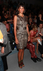 Veronica showed off a snakeskin leather embossed dress while seating front row at the Christian Siriano fashion show.