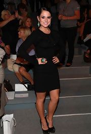Jojo paired her platform pumps with a long sleeve cocktail dress.