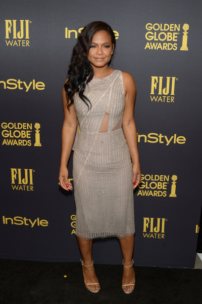 Christina Milian Beaded Dress [clothing,dress,cocktail dress,shoulder,premiere,fashion model,fashion,carpet,red carpet,footwear,christina milian,golden globe award,catch la,west hollywood,california,hollywood foreign press association and instyle celebrate,instyle]