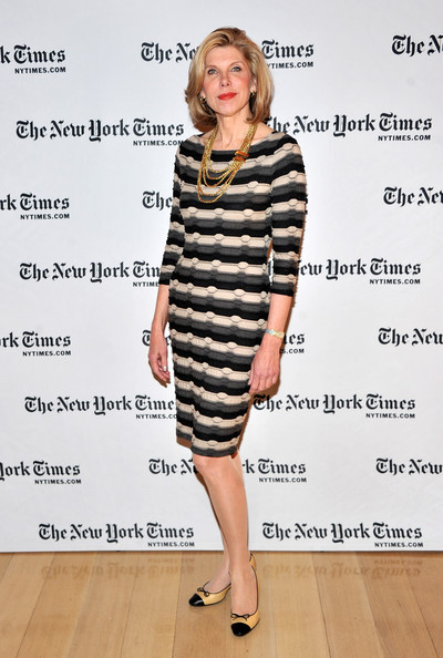 Christine Baranski Sweater Dress [timestalks,the good wife,clothing,dress,fashion model,cocktail dress,fashion,footwear,shoulder,shoe,outerwear,sleeve,errol morris,christine baranski,cast,the times center,new york city,ny times arts leisure weekend,new york times timestalk]