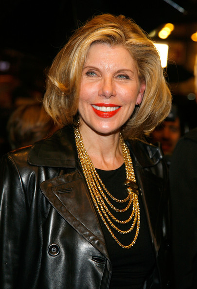 Christine Baranski Gold Chain [la bete,hair,face,blond,lady,hairstyle,lip,leather,fashion,textile,layered hair,christine baranski,curtain call,new york city,music box theatre,broadway,opening night - arrivals]