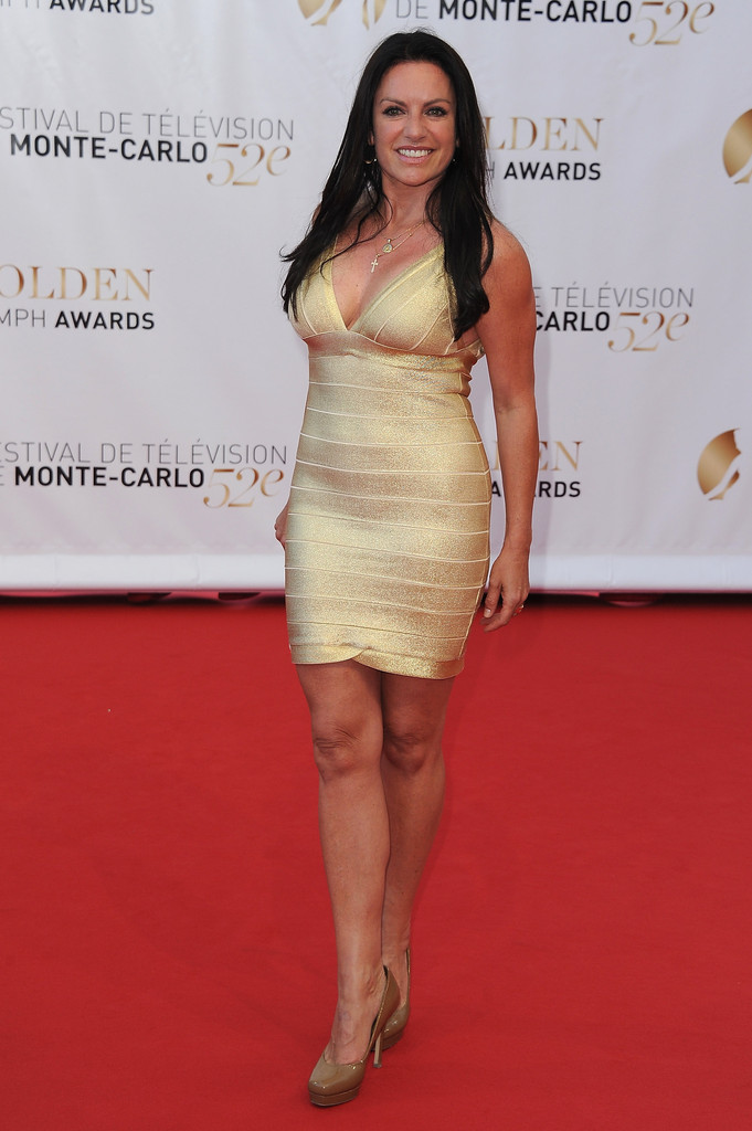 Christine Neubaure was all sass in this skin tight gold dress.