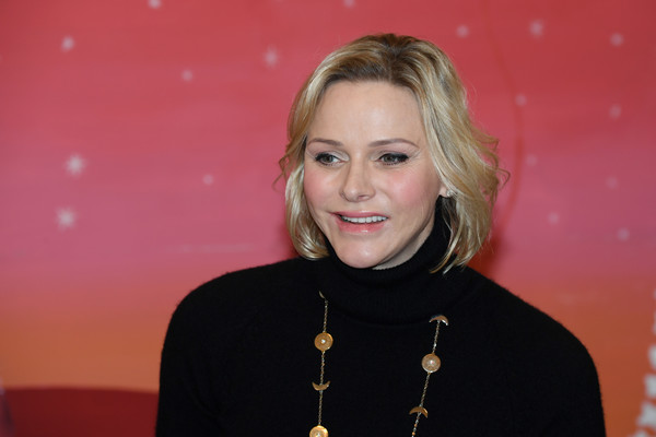 Charlene Wittstock wore her hair in a textured bob during the Christmas gifts distribution at Monaco Palace.