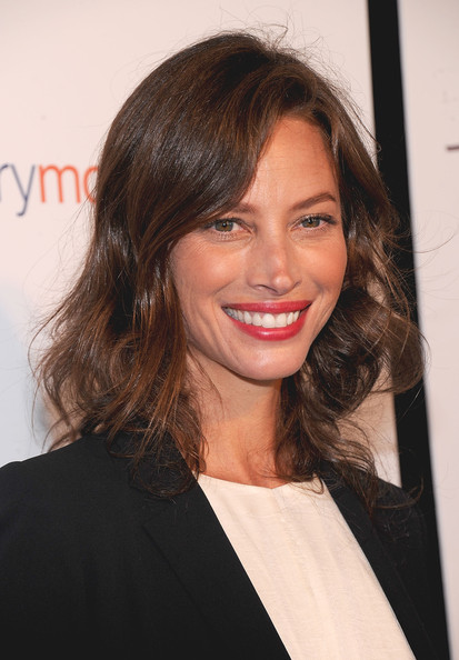 Christy Turlington Red Lipstick [hair,face,hairstyle,eyebrow,brown hair,chin,layered hair,long hair,blond,lip,christy turlington,tracy anderson method pregnancy project,the tracy anderson method pregnancy project,le bain,new york city,the standard]