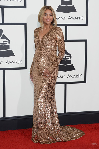 Ciara Sequin Dress [flooring,gown,carpet,fashion model,beauty,shoulder,dress,red carpet,fashion,girl,arrivals,ciara,56th grammy awards,staples center,los angeles,california]