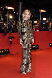 Rendered entirely in geometric-patterned sequins, Cate Blanchett's Givenchy column dress at the 'Cinderella' BIFF premiere looked like a modern work of art.