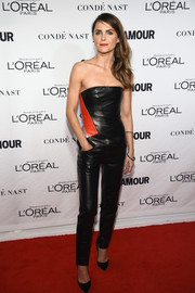 Keri Russell went for a rocker-chic vibe at the Glamour Women of the Year Awards in a strapless tricolor leather jumpsuit by J. Mendel.