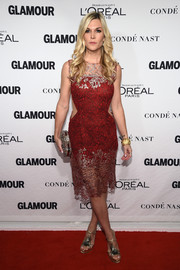 Tinsley Mortimer chose embellished T-strap sandals to team with her alluring dress.