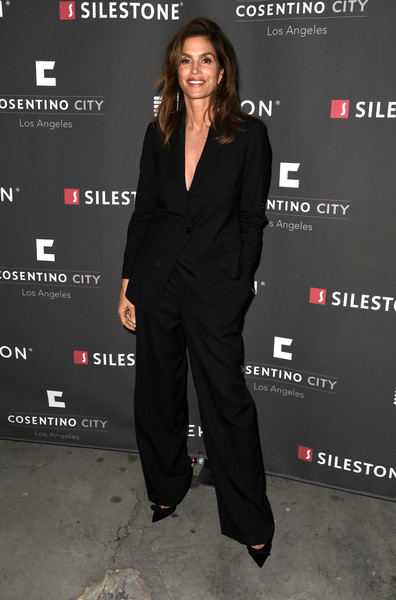 Cindy Crawford Pantsuit [cindy crawford,cosentino la city center grand opening with fashion icon,suit,clothing,premiere,pantsuit,formal wear,tuxedo,outerwear,event,carpet,little black dress,cosentino la city center grand opening,west hollywood,california,cosentino la city center]