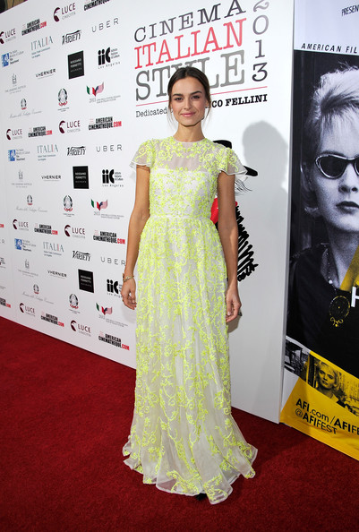 Kasia Smutniak looked very princess-y in this Valentino gown, featuring cap sleeves and neon-yellow beading, at the premiere of 'The Great Beauty.'