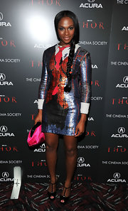 Tika Sumpter looked cute at the 'Thor' screening in a zany print dress and black T-strap peep-toes.