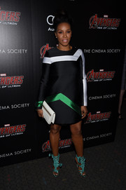 June Ambrose went the ultra-modern route in a tricolor A-line mini dress by Lisa Perry at the 'Avengers: Age of Ultron' screening.