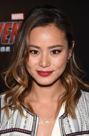 For her lips, Jamie Chung chose a bold red hue.