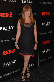 Nicole Miller chose a black lace frock with orange detailing for her look at the NYC screening of 'Red 2.'
