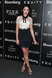 Mara Teigen was classic and chic in a two-tone collared lace dress at the screening of 'Equity.'