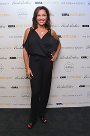 Vanessa Williams showed just a touch of skin with this black draped jumpsuit that featured cold-shoulder sleeves.
