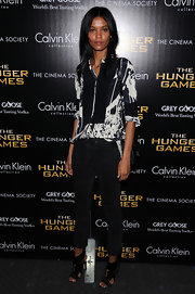 Liya Kebede wore this creative print blouse to the NY screening of 'The Hunger Games.'