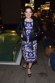Laura Michelle Kelly constrasted her delicate dress with a tough-looking leather jacket.