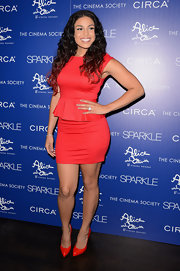 Jordin Sparks was all about the peplum trend in this simple red dress at the 'Sparkle' premiere.