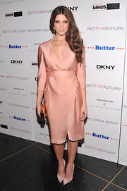 Ashley Greene looked flawless in her silk peach wrap dress at the premiere of 'Butter.'