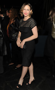 Vera Farmiga donned girlish black satin rosette-adorned slingbacks to the after party for 'Henry's Crime.'